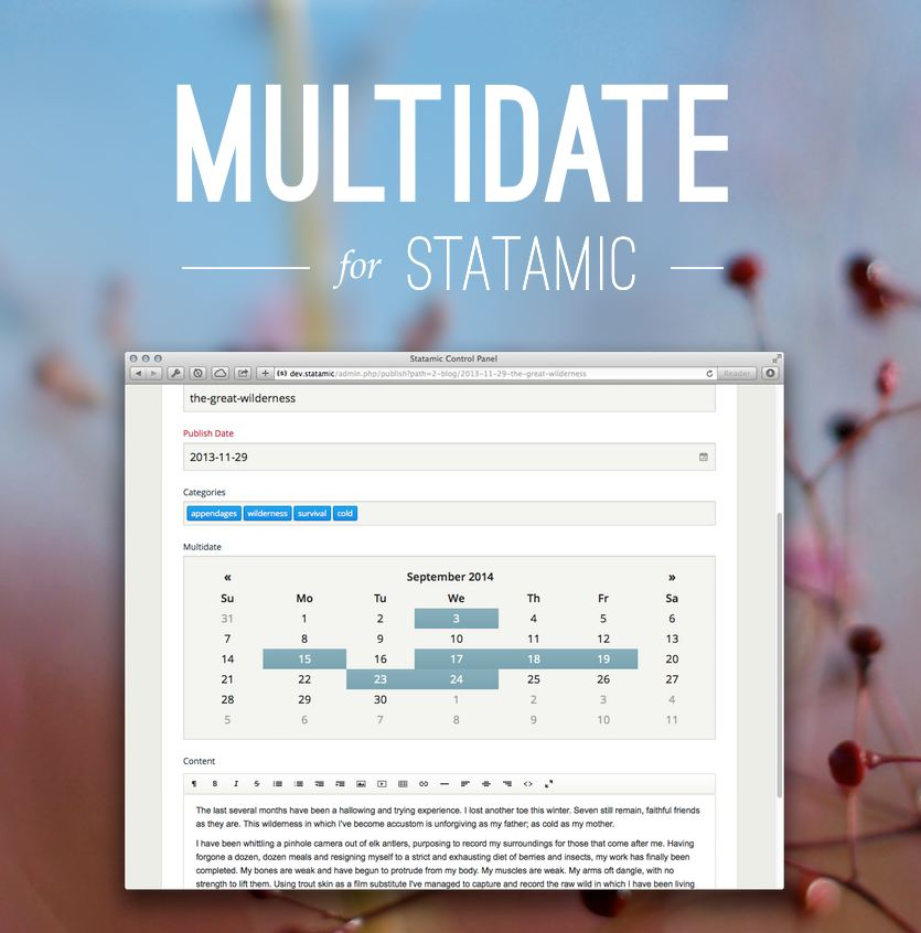Multidate for Statamic - a multiple datepicker